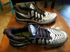 EUC Size 10.5 Nike Fingertrap Superbowl XLVIII Shoes Black Silver Volt NFL