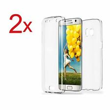 2x Funda doble silicona TPU Transparente para Samsung Galaxy S7 EDGE Hibrida Gel