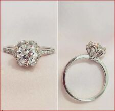 Engagement Ring 925 Sterling Silver 1.75Ct White Moissanite Flower Halo Unique