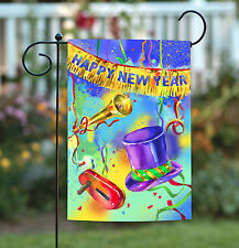 NEW Toland - Noisy New Year - Happy Celebrate Colorful Streamer Garden Flag
