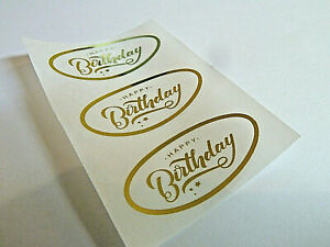 Happy Birthday Stickers Gold on Clear Labels Cards Envelopes Craft HBGFOIL1