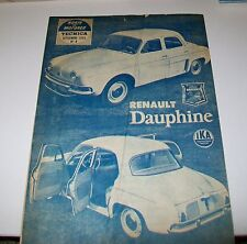 RENAULT DAUPHINE rugir de Motores Technica SEPT 1960. l'article réimpression de l'Argentine