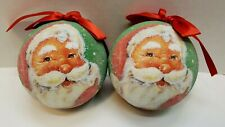 """Set of 2 New Santa Frosted Plastic Christmas Ornament 3.5"""" Holiday Living"""