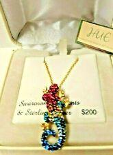 Hue Gecko Lizard Pendant Necklace Swarovski Crystal & Gold Sterling Silver 925