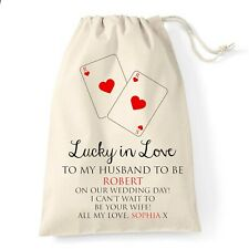 Groom Wedding Gift Bag | Lucky in Love Design | Personalised