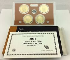 2011 PRESIDENTIAL $1 GOLDEN DOLLAR GEM PROOF DCAM 4 COIN SET with box and COA