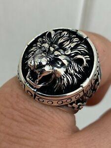 Mens Real Solid 925 Sterling Silver King Lion Of Judah Rasta Ring Sz 7-13 HEAVY