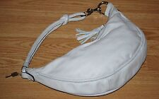 FOSSIL leather Winter White duffle tassel Hobo shoulder bag purse handbag FOB