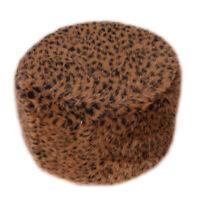 Non-slip Cover for Pouf Ottoman Footrest Stools in 35cm Dia. Leopard Print