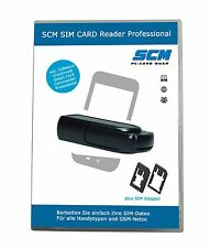 SCM SIM Card Reader Professional - SIM Card Stick schwarz plus Software GSM