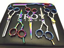 Professional Scissors Shears Hairdressing Thinning Hair Salons Set Of 5 With Raz
