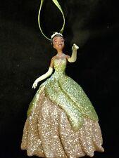 Disney Princess Tiana and frog prince Christmas ornament-Green sparkling