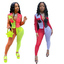 New Stylish Women Long Sleeves Color Patchwork Bodycon Casual Jumpsuit 2pcs