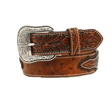 NWT Mens ARIAT Western Belt Ostrich Leather A1024402 Size 42