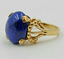 Vintage Mid-Century Lapis Cabochon 14K Yellow Gold Cocktail Ring Size 5.75