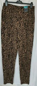 New Marks and Spencer Women's Brown Animal Print Tapered Trousers Size 14 L ,16L
