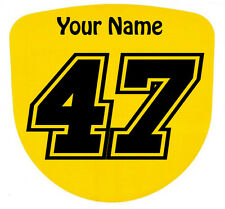 3 X Custom carrera de números y nombre Stickers Calcomanías Kart Motocross Mx Dirt Bike-S4