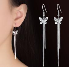 925 Sterling Silver Korean Chic Women Butterfly Tassel Drop Dangle Hook Earrings
