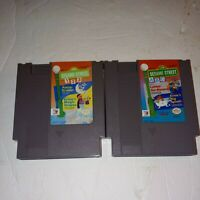 Sesame Street 123 & ABC 2 Game Lot Nintendo NES Tested Authentic Ernie