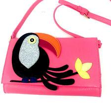C Wonder Pink Tucan Purse Crossbody Bird Bag Graphic Parrot Glittery Vegan