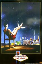 RAFAL OLBINSKI Las Vegas Moon Poster Offset Lithograph 24″ by 36″ Polish Artist