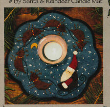 PATTERN - Santa & Reindeer Candle Mat - cute applique candle mat PATTERN