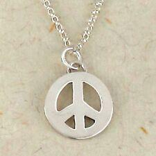 Sterling Silver Peace Symbol & Chain Silver Peace Symbol Necklace Peace Pendant