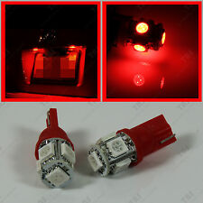 2pcs License Tag Number Frame Plate 12V Red 5-SMD LED Light Bulbs T10 Wedge 194