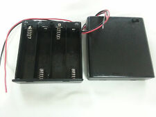 "1pc 4-AA 6V ENCLOSED Battery Holder case Box w/ switch and 6"" leads US FreeShip"