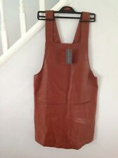 New Look Tan Pinafore Pocket Detail Leather Look Dress Size 14 42 Bnwt
