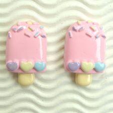 "US SELLER - 10 pc x 1.25"" Resin Ice Cream Bar Flatbacks w/Hearts for Bows SB633P"