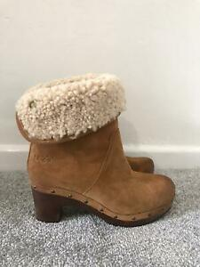 Ugg Boots Size 3.5 Tan Suede Ankle Chelsea Boots Clogs Sheepskin Lined Leather