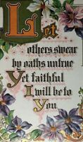 Victorian Embossed Poetry Postcard Real Friends Always Faithful Motto Unposted