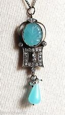 PENDENTIF REPRODUCTION BIJOU VINTAGE ELISABETHIN QUARTZ BLEU OPAQUE *4836