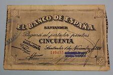 1936 SANTANDER 50 PESETAS BANCO DE ESPAÑA BANKNOTE SPAIN CIVIL WAR..