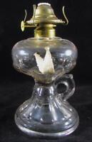 Antique Finger Lamp Kerosene Oil Clear EAPG Glass Petal Loop with Brass Burner