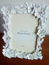 Pretty cream metal photo frame with flowers set with stones brand new