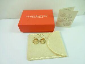 14K Gold James Avery Sand Dollar Dangle  Earring 3.4 Grams