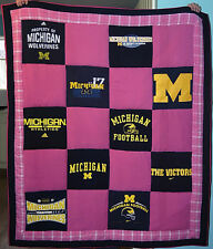 U of M Upcycled Pink T-shirt Extra Large Quilt University of Michigan Wolverines