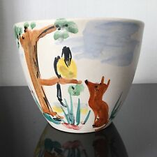 Paul MILET Sèvres - Cache Pot Ceramique Design Corbeau Renard La Fontaine 1950