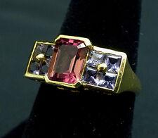Elegant Purple Tanzanite and Pink Tourmaline 14k Designer Gold Ring Size 7 3/4