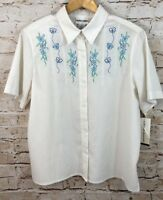 Alfred Dunner blouse womens 12 floral embroidered short slv white new gauzy A12