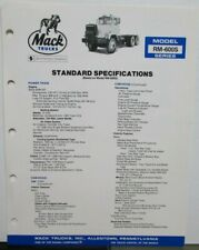 1982 Mack Model RM 600S Diagrams Dimensions Sales Brochure Original