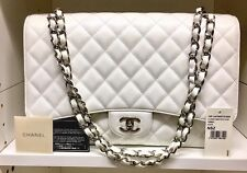 CHANEL Maxi Single Flap White Caviar Leather Silver Hardware Shoulder Bag- MINT!