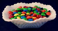 Vintage Hazel-Atlas Diamond Squares Milk-Glass Bonbon Candy Dish/Bowl