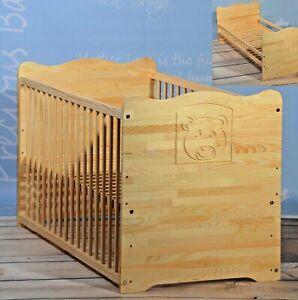 Babybett Gitterbett 140 x 70 Komplett Set UMBAUBAR Massivholz Mit Gravur ANGEBOT