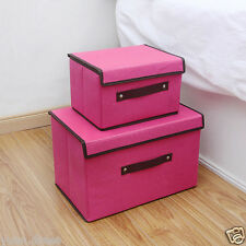 New Rose Cotton Linen Foldable Clothing Storage Box with Lid Container Organizer
