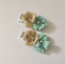 Pair Of Fiona Flower hair Clips/hair Bows/girls Accessories/beige/tosca/green
