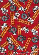 FIRE BRIGADE FIREMEN LADDERS DALMATIANS DOGS HOSES ON RED FABRIC-QUILTING