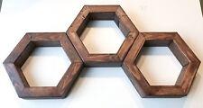 Floating Hexagon Honeycomb Shelf , geometric , Hand Made, walnut stain set of 3